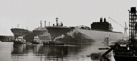 De werf op zijn top eind jaren 70 met Methania, Ortelius en Temse op de Schelde