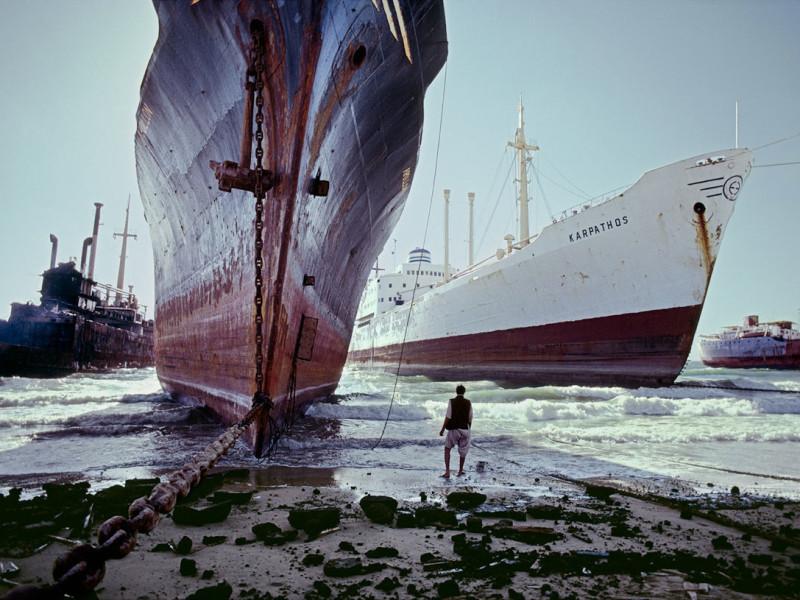 sloop van schepen - beaching